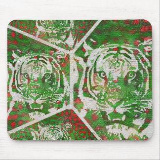 Florescent Green Red Tiger Mouse Pad
