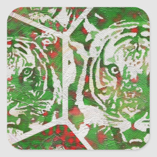 Florescent Green Red Tiger Square Sticker