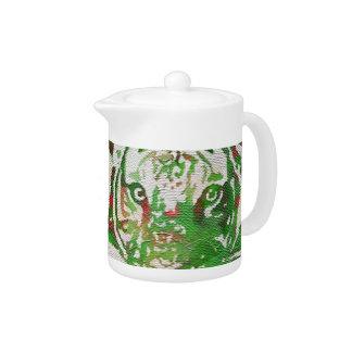 Florescent Green Red Tiger Teapot