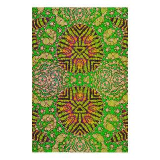 Florescent Green Zebra Abstract Cork Paper Print