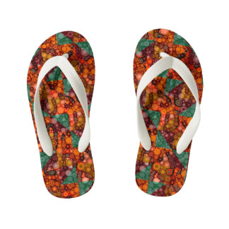 Florescent Orange Abstract Cheetah Kid's Flip Flops