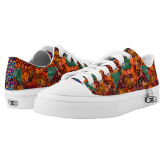 Florescent Orange Abstract Cheetah Low-Top Sneakers