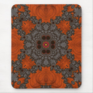 Florescent Orange and grey Fractal Kelidescopee Mouse Pads