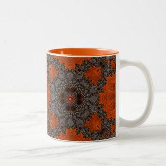 Florescent Orange and grey Fractal Kelidescopee Two-Tone Coffee Mug