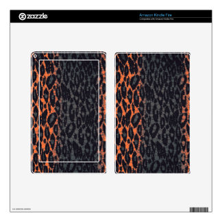Florescent Orange Black Leopard Decals For Kindle Fire