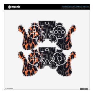 Florescent Orange Black Leopard PS3 Controller Skins