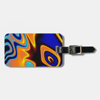 Florescent Orange Blue Trippy Abstract Luggage Tag