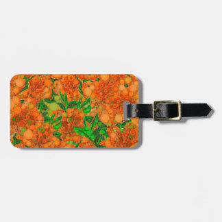 Florescent Orange Green Flower Abstract Bag Tag