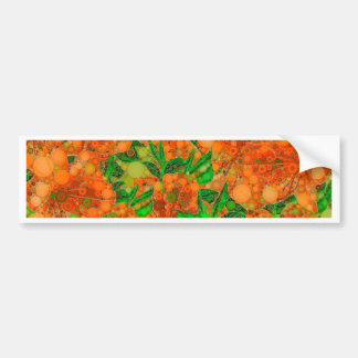 Florescent Orange Green Flower Abstract Bumper Sticker