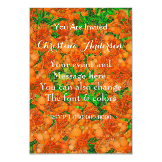 Florescent Orange Green Flower Abstract Card