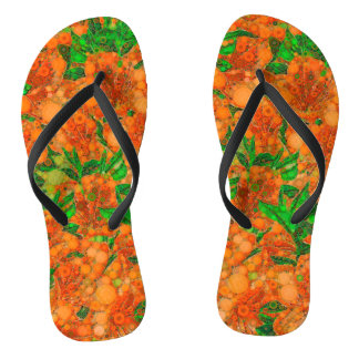 Florescent Orange Green Flower Abstract Flip Flops