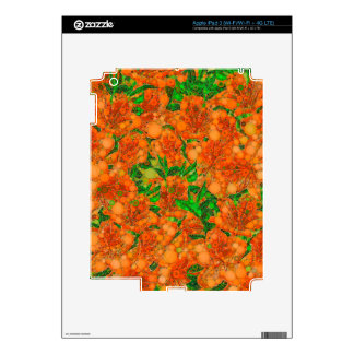 Florescent Orange Green Flower Abstract iPad 3 Decals