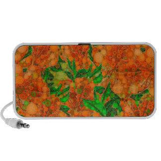 Florescent Orange Green Flower Abstract Mp3 Speaker