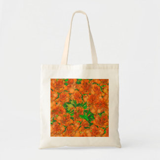 Florescent Orange Green Flower Abstract Tote Bag