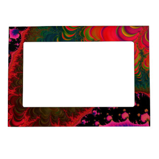 Florescent Orange Pink Green Fractal Magnetic Frame