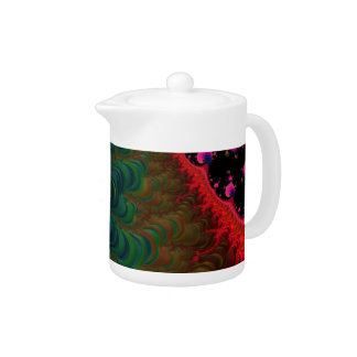 Florescent Orange Pink Green Fractal Teapot