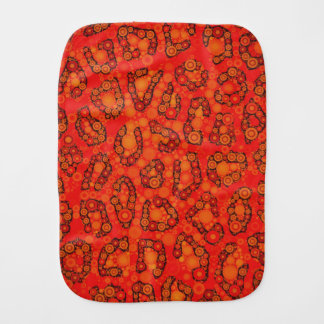 Florescent Orange Red Cheetah Abstract Burp Cloth