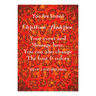 Florescent Orange Red Cheetah Abstract Card