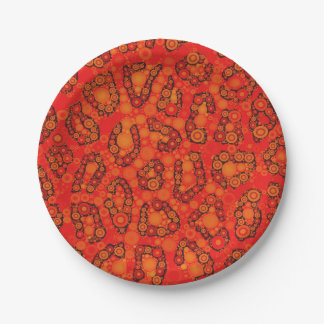 Florescent Orange Red Cheetah Abstract Paper Plate
