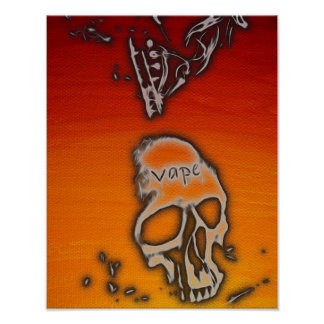 Florescent Orange Red Skull Smoke Vape Poster