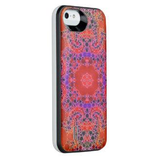 Florescent Orange Unique Abstract Pattern iPhone SE/5/5s Battery Case