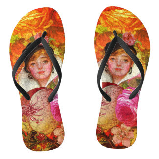 Florescent Orange Vintage Woman Abstract Flip Flops
