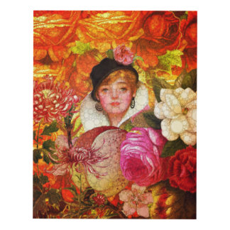 Florescent Orange Vintage Woman Abstract Panel Wall Art