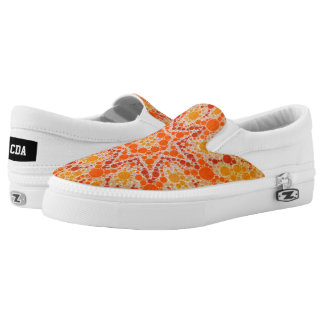 Florescent Orange Yellow Abstract Printed Shoes