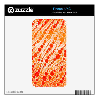 Florescent Orange Zebra Abstract Skins For iPhone 4S