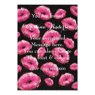 Florescent Pink Abstract Lips Card