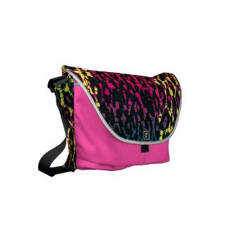 Florescent Pink Black Cheetah Abstract Small Messenger Bag