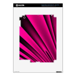 Florescent Pink Black Stripe Pattern Skins For iPad 3