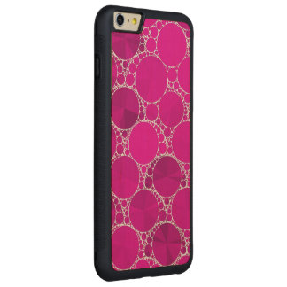 Florescent Pink Bling Carved Maple iPhone 6 Plus Bumper Case