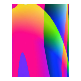Florescent Pink Blue Abstract Pattern Letterhead