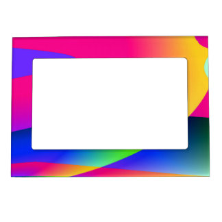 Florescent Pink Blue Abstract Pattern Magnetic Photo Frame
