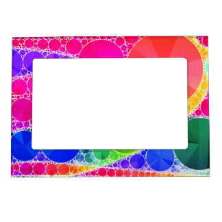 Florescent Pink Blue Bling Abstract Magnetic Photo Frame