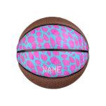 Florescent Pink Blue Cheetah Basketball