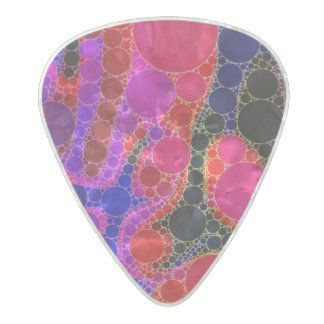 Florescent Pink Blue Circle Abstract Pearl Celluloid Guitar Pick