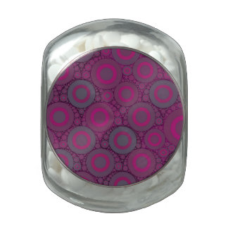 Florescent Pink Bluish Circle Abstract Glass Jars