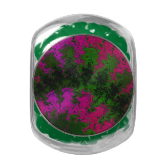 Florescent Pink Green Abstract Jelly Belly Candy Jars