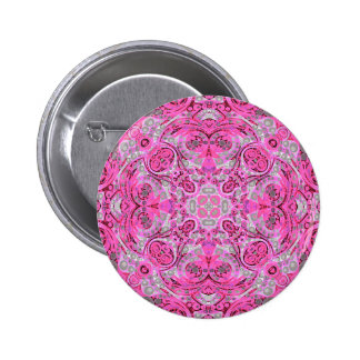 Florescent Pink Grey Abstract 2 Inch Round Button