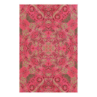 Florescent Pink Grey Abstract Cork Paper Prints
