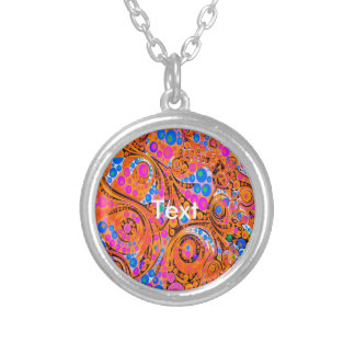 Florescent Pink Orange Abstract Round Pendant Necklace