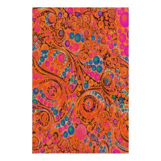 Florescent Pink Orange Abstract Cork Paper Prints