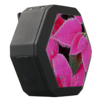 Florescent Pink Poinsettia Black Bluetooth Speaker