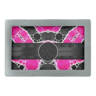 Florescent Pink Silk Monogram Rectangular Belt Buckles