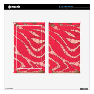 Florescent Pink Tan Zebra Kindle Fire Decal