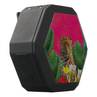Florescent Pink Tiger Floral Oil Brush Black Bluetooth Speaker