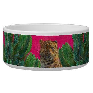 Florescent Pink Tiger Floral Oil Brush Bowl