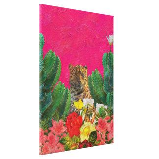 Florescent Pink Tiger Floral Oil Brush Canvas Print